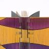 """Monique Lepeuve, Les Mémoires de L'Oiseau Mendelssohn.  """"À Creneaux"""" binding with cover in polycarbonate and spine in PVC,  airbrushed with automotive paint. Detail of headcap."""